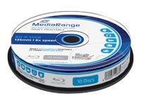 MediaRange Inkjet Fullsurface-Printable - 10 x BD-R - 25 GB 6x - weiss - mit Tintenstrahldrucker bedruckbare Oberfläche - Spinde