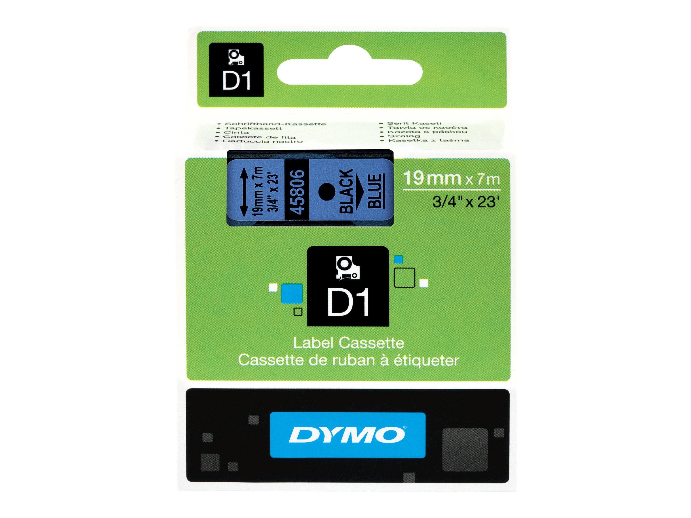 DYMO D1 - Selbstklebend - Schwarz auf Blau - Rolle (1,9 cm x 7 m) 1 Rolle(n) Etikettenband - für LabelMANAGER 360, 400, 420, 450