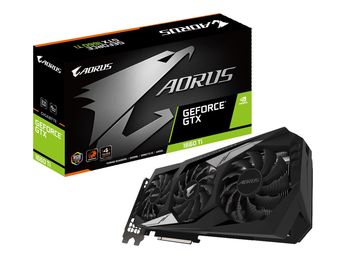 Gigabyte AORUS GeForce GTX 1660 Ti 6G - Grafikkarten - GF GTX 1660 Ti - 6 GB GDDR6 - PCIe 3.0 x16 - HDMI, 3 x DisplayPort