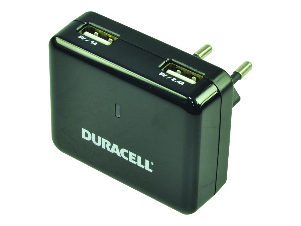Duracell - Netzteil - 2.4 A - 2 Ausgabeanschlussstellen (USB) - Australien, Grossbritannien und Nordirland, Vereinigte Staaten,