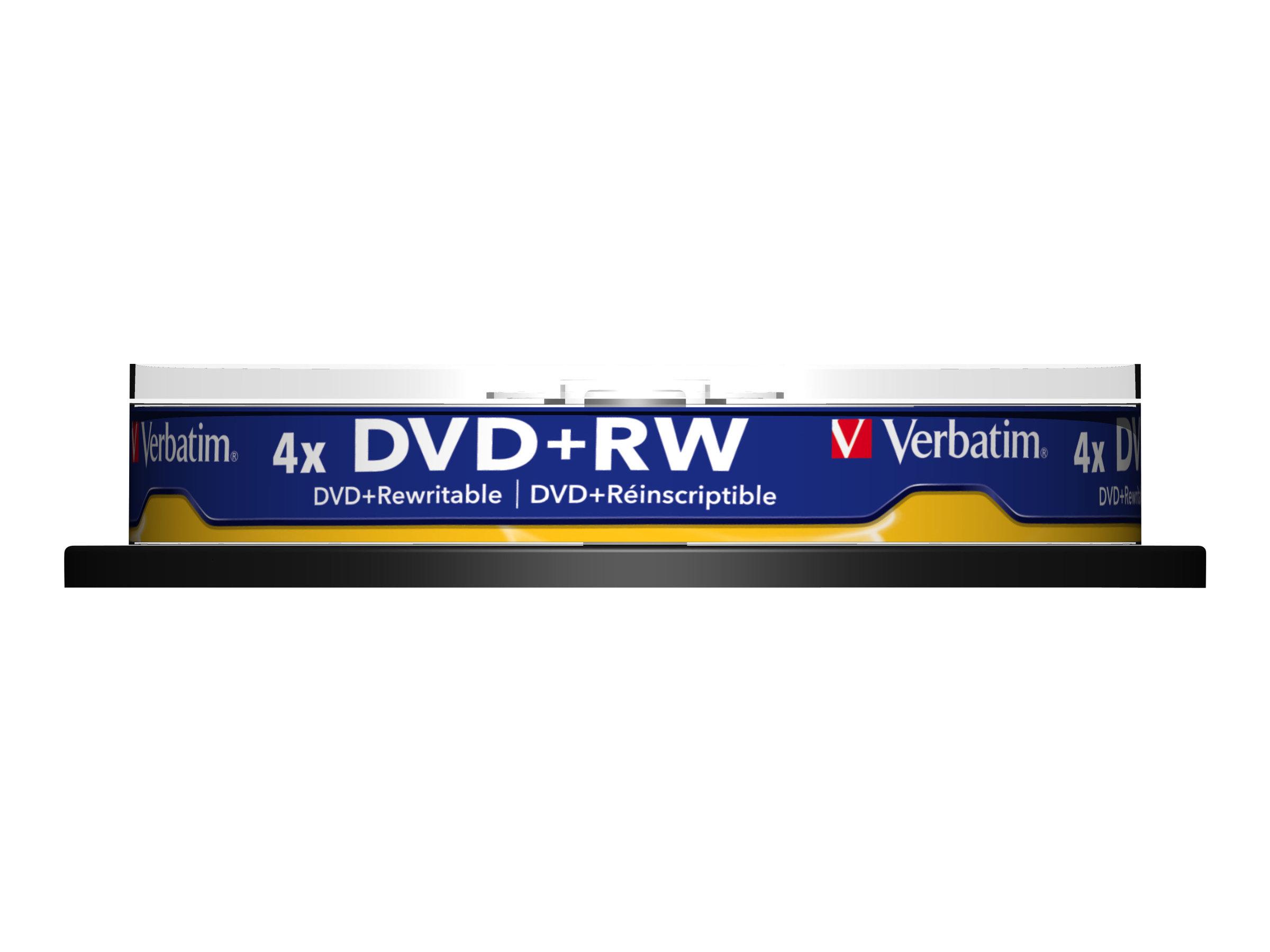 Verbatim - 10 x DVD+RW - 4.7 GB (120 Min.) 4x - mattsilber - Spindel
