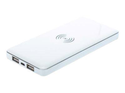 Ednet Power Bank 8000 - Drahtlose Ladestation / externer Akkusatz - Li-Pol - 8000 mAh - 2 Ausgabeanschlussstellen (USB) - weiss