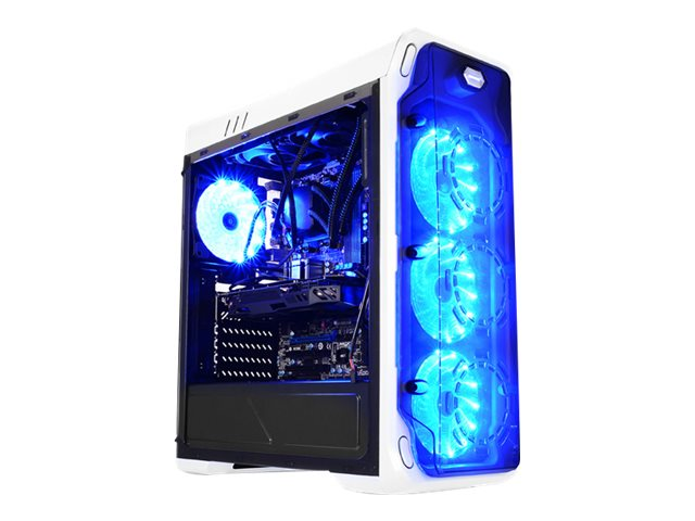 LC Power Gaming 988W Blue Typhoon - Tower - ATX - ohne Netzteil - weiss, durchsichtig schwarz - USB/Audio