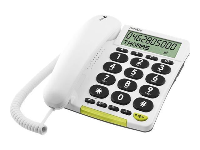 DORO PhoneEasy 312cs - Telefon mit Schnur mit Rufnummernanzeige - weiss