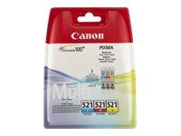Canon CLI-521 C/M/Y Multi pack - 3er-Pack - Gelb, Cyan, Magenta - Original - Tintenbehälter - für PIXMA iP3600, iP4700, MP540, M