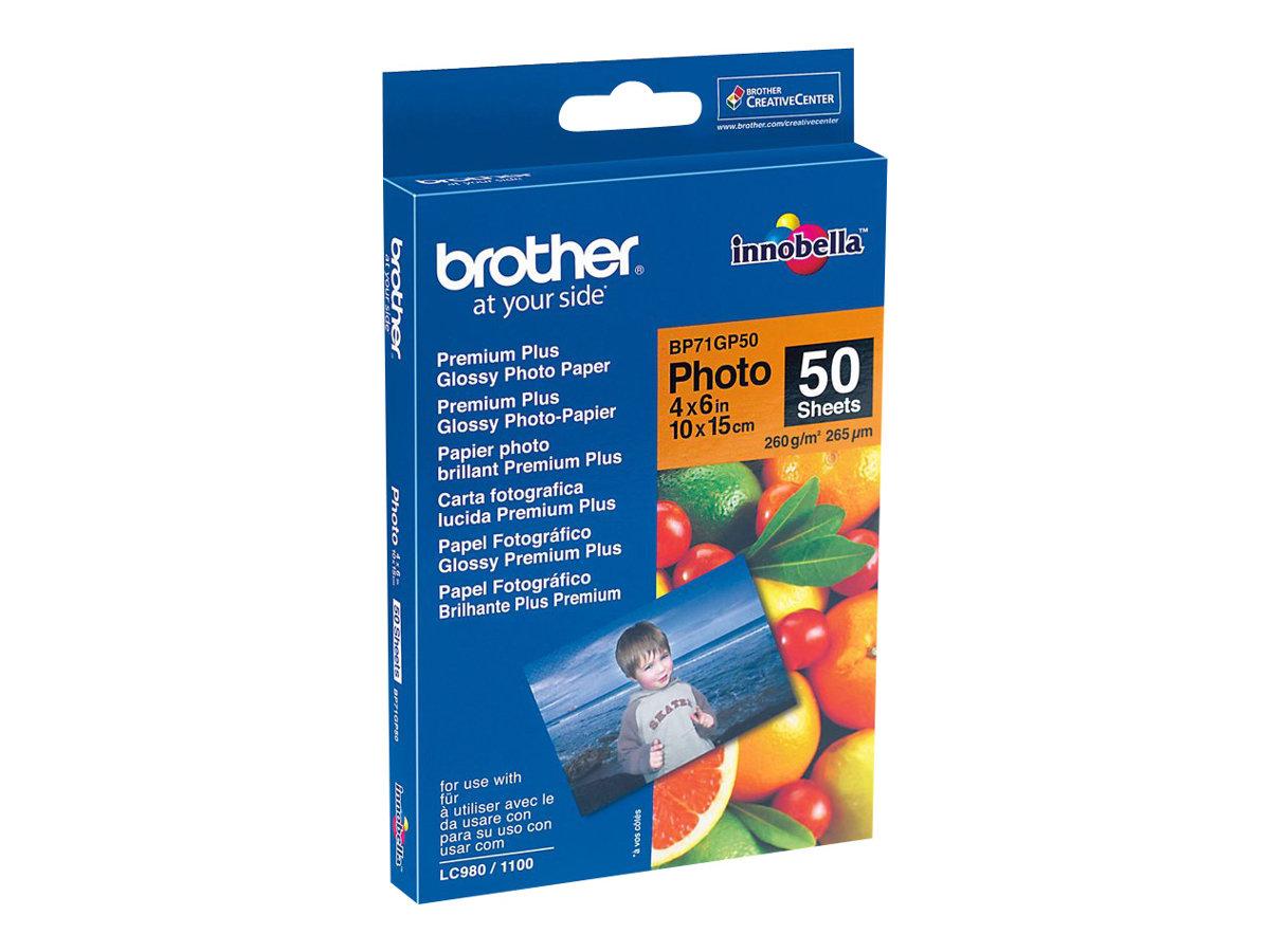 Brother BP - Glänzend - 100 x 150 mm 50 Blatt Fotopapier - für Brother DCP-J4120, J772, J774, J785, MFC-J2720, J4625, J6530, J69
