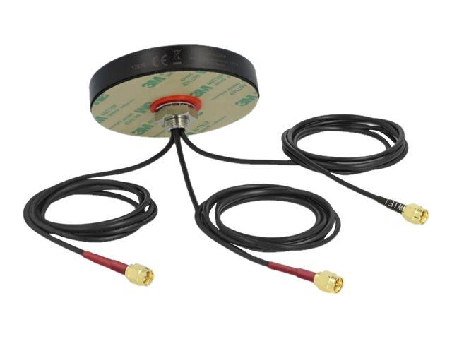 Delock LTE MIMO Dual Band WLAN 802.11 ac/ax/a/h/b/g/n Antenna - Antenne - Smart Home - 3 dBi (für 2400 MHz - 2483 MHz), 3 dBi (f