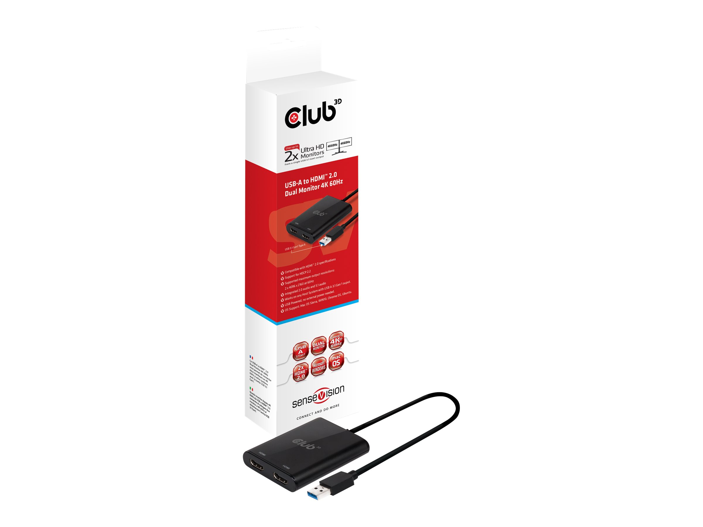 Club 3D SenseVision - Externer Videoadapter - USB 3.1 Gen 1 - 2 x HDMI