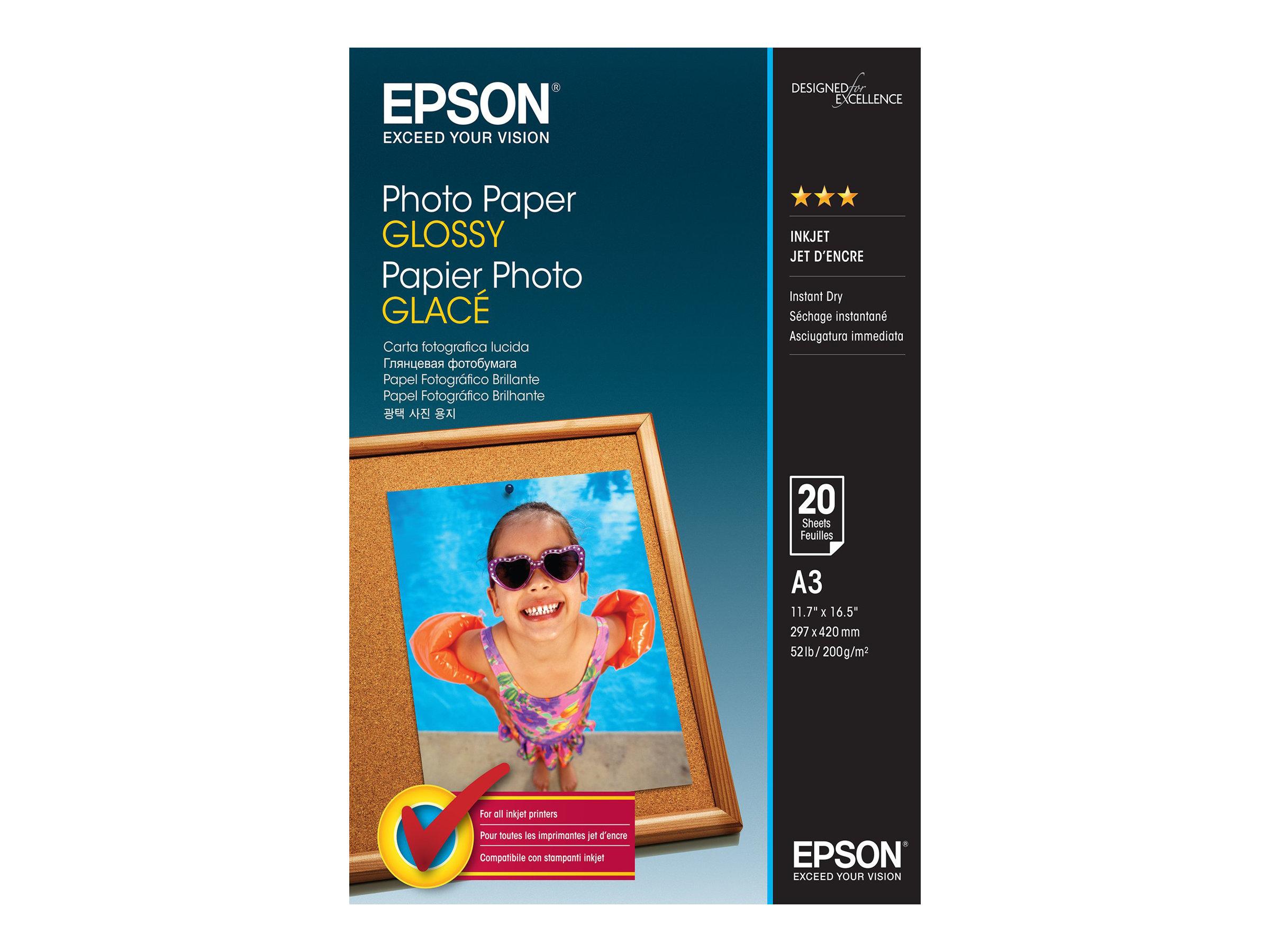 Epson - Glänzend - A3 (297 x 420 mm) - 200 g/m² - 20 Blatt Fotopapier - für Expression Photo HD XP-15000, XP-970; SureColor T316