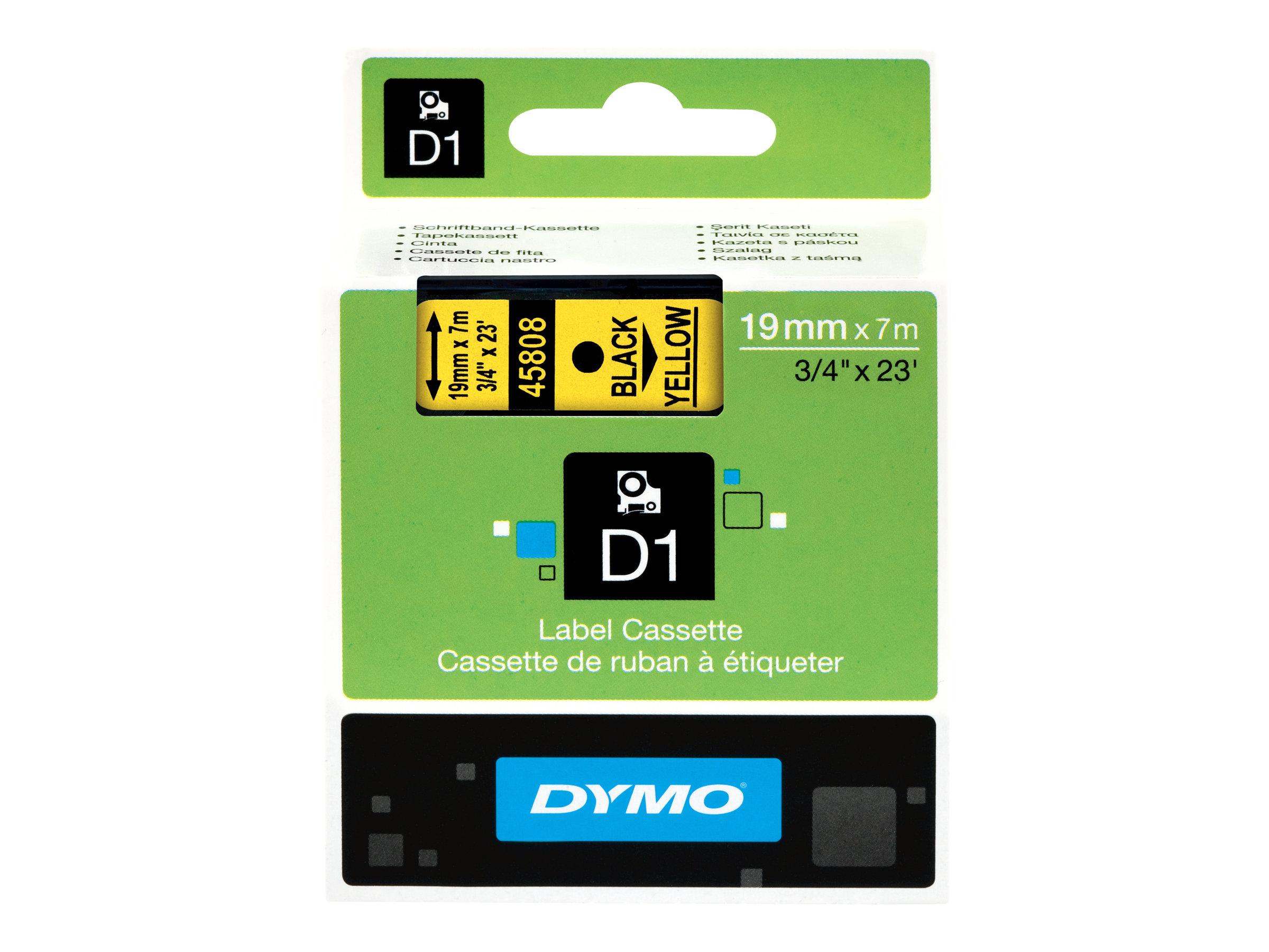 DYMO D1 - Selbstklebend - Schwarz auf Gelb - Rolle (1,9 cm x 7 m) 1 Rolle(n) Etikettenband - für LabelMANAGER 360D, 420P, 420P K