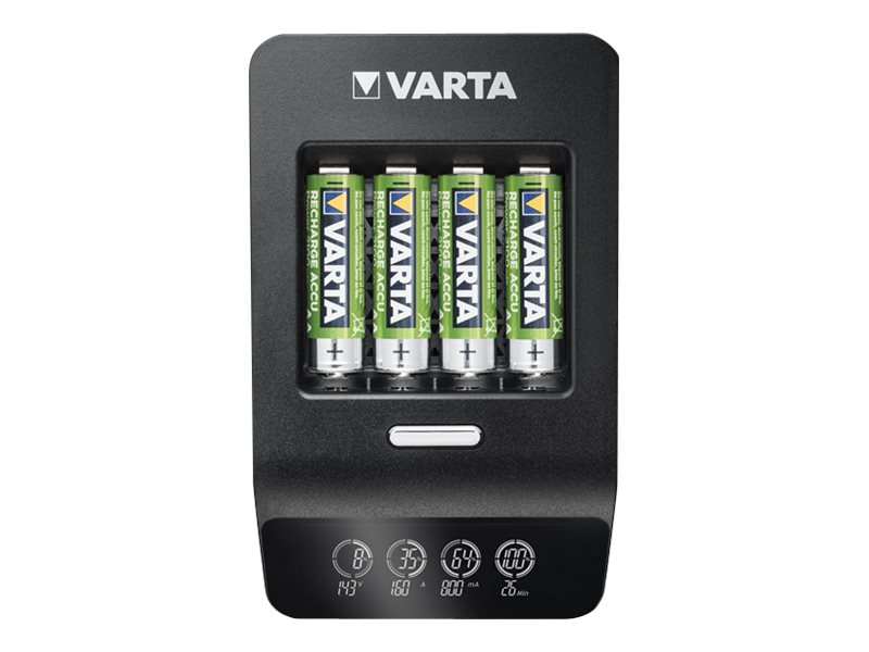 Varta LCD ULTRA FAST CHARGER+ - 0,25 Std. Batterieladegerät - (für 4xAA/AAA) + AC-Netzteil + Kfz-Netzteil 4 x AA-Typ - NiMH - 21