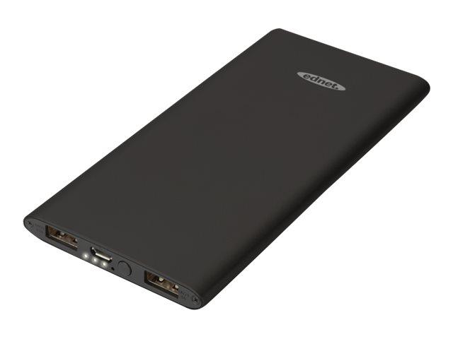 Ednet Slim Line Aluminium - Powerbank - 5000 mAh - 2.1 A - 2 Ausgabeanschlussstellen (USB) - auf Kabel: Micro-USB
