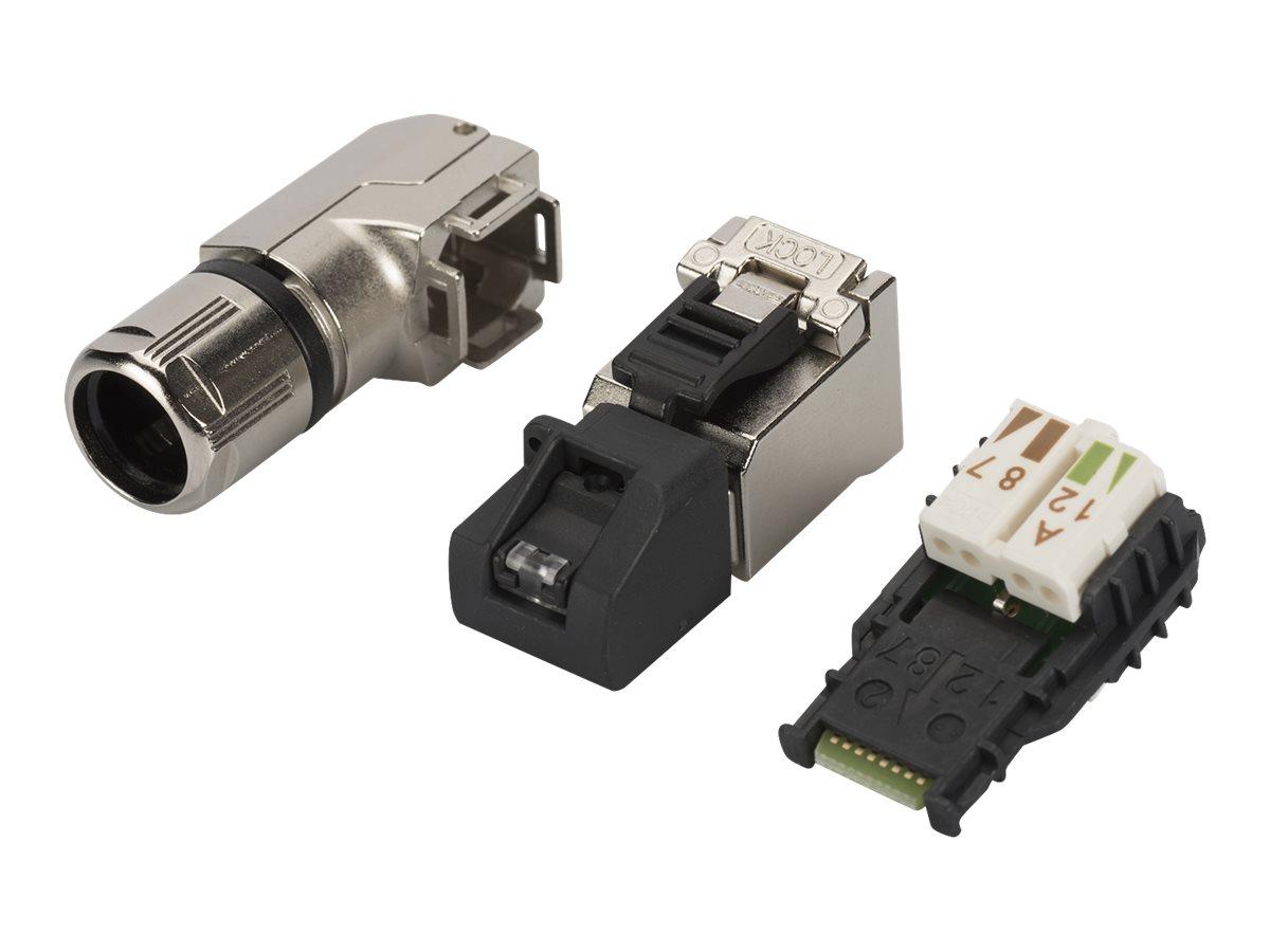 ASSMANN - Netzwerkanschluss - RJ-45 (M) gewinkelt - CAT 6a - IEEE 802.3bt/IEEE 802.3af/IEEE 802.3an/IEEE 802.3at (Packung mit 10