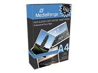 MediaRange - Hochglänzend - beschichtet - A4 (210 x 297 mm) - 160 g/m² - 100 Blatt Fotopapier