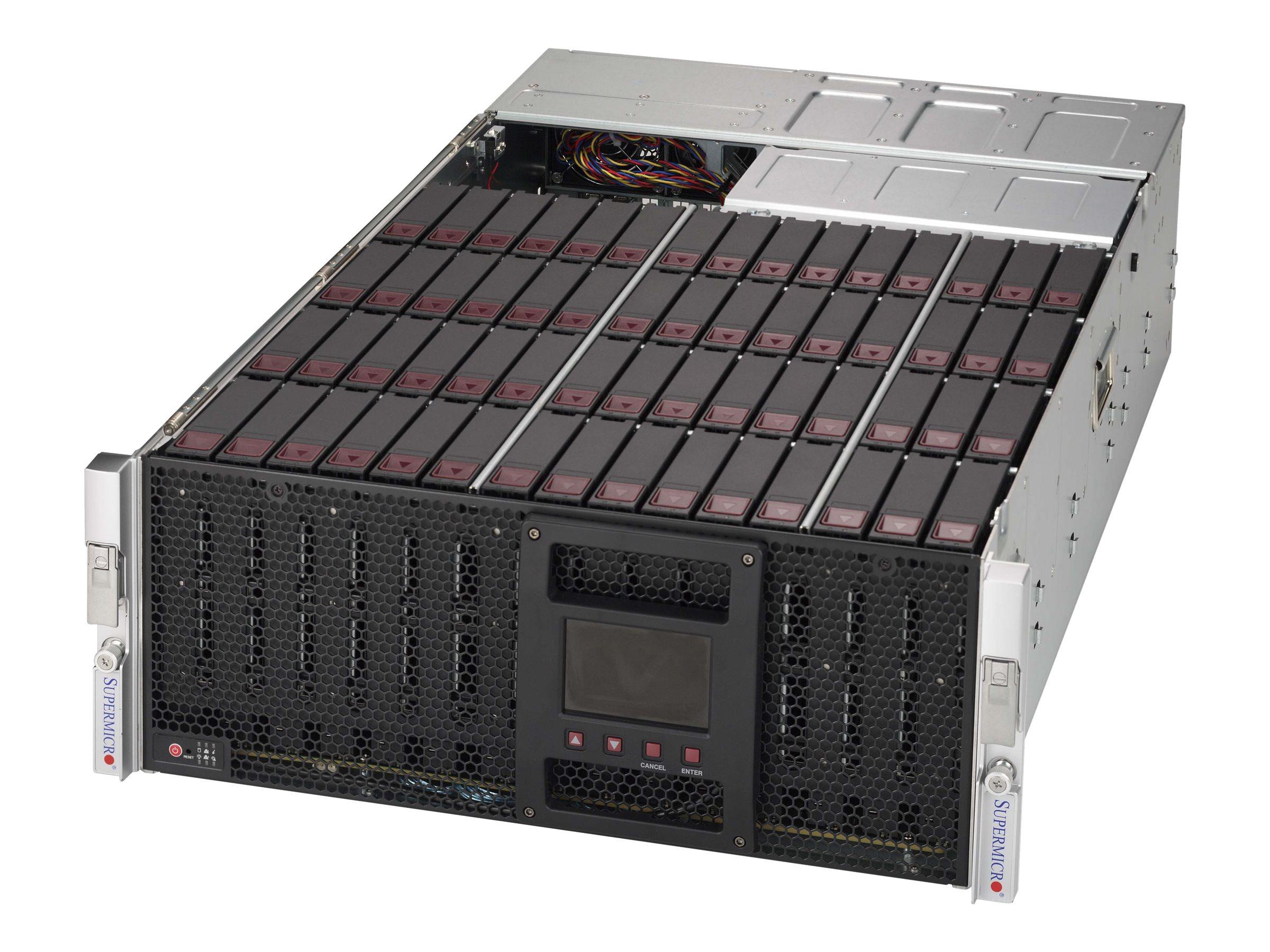 Supermicro SC946 SE1C-R1K66JBOD - Speichergehäuse - 60 Schächte (SATA-600 / SAS-3) - Rack - einbaufähig - 4U