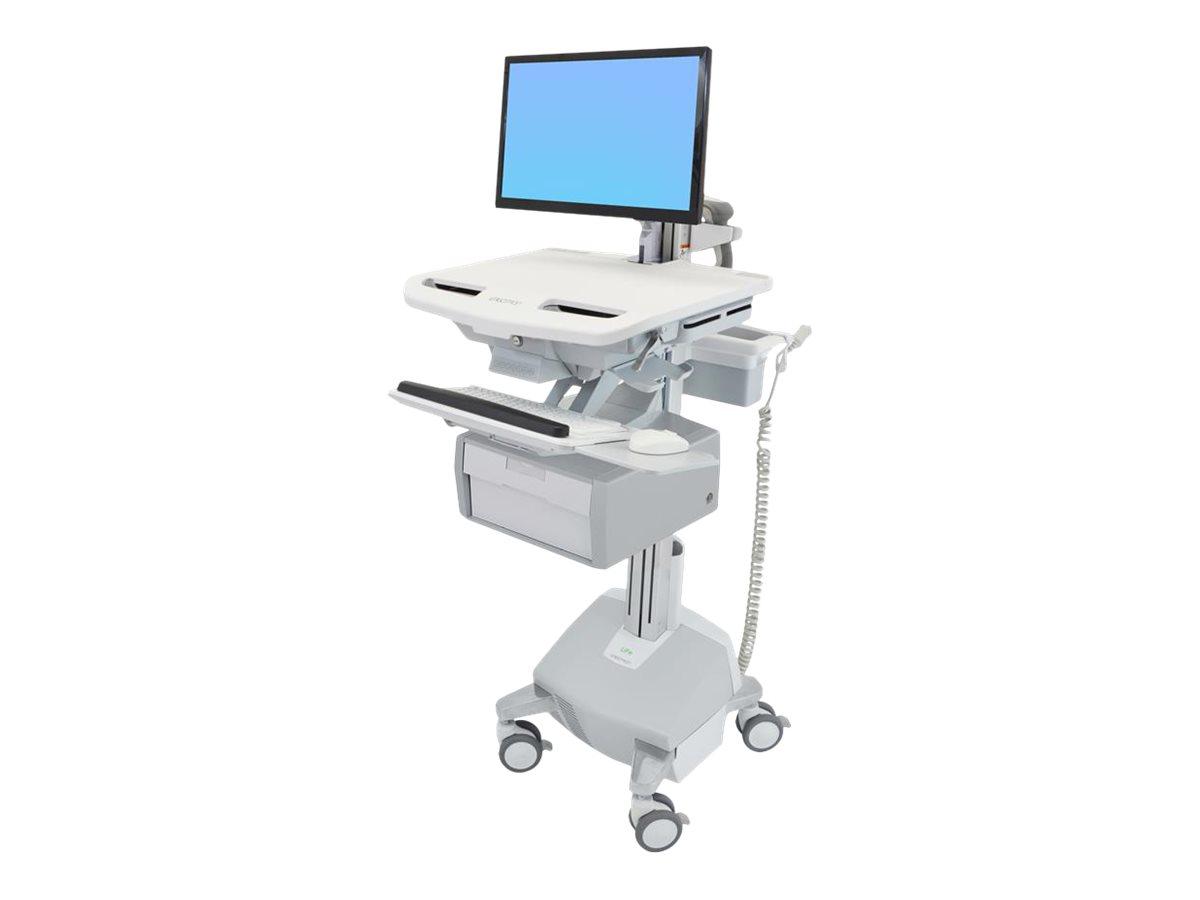 Ergotron Cart with LCD Arm, LiFe Powered, 1 Tall Drawer - Wagen für LCD-Display/Tastatur/Maus/CPU/Notebook/Barcodescanner - verr