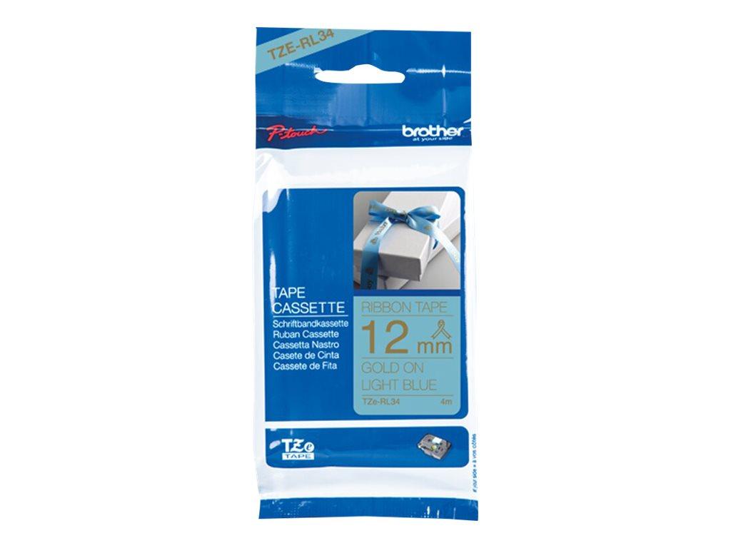 Brother TZe-RL34 - Seidig - Gold auf Hellblau - Rolle (1,2 cm x 4 m) 1 Rolle(n) Band - für Brother PT-D210, D600, H110; P-Touch