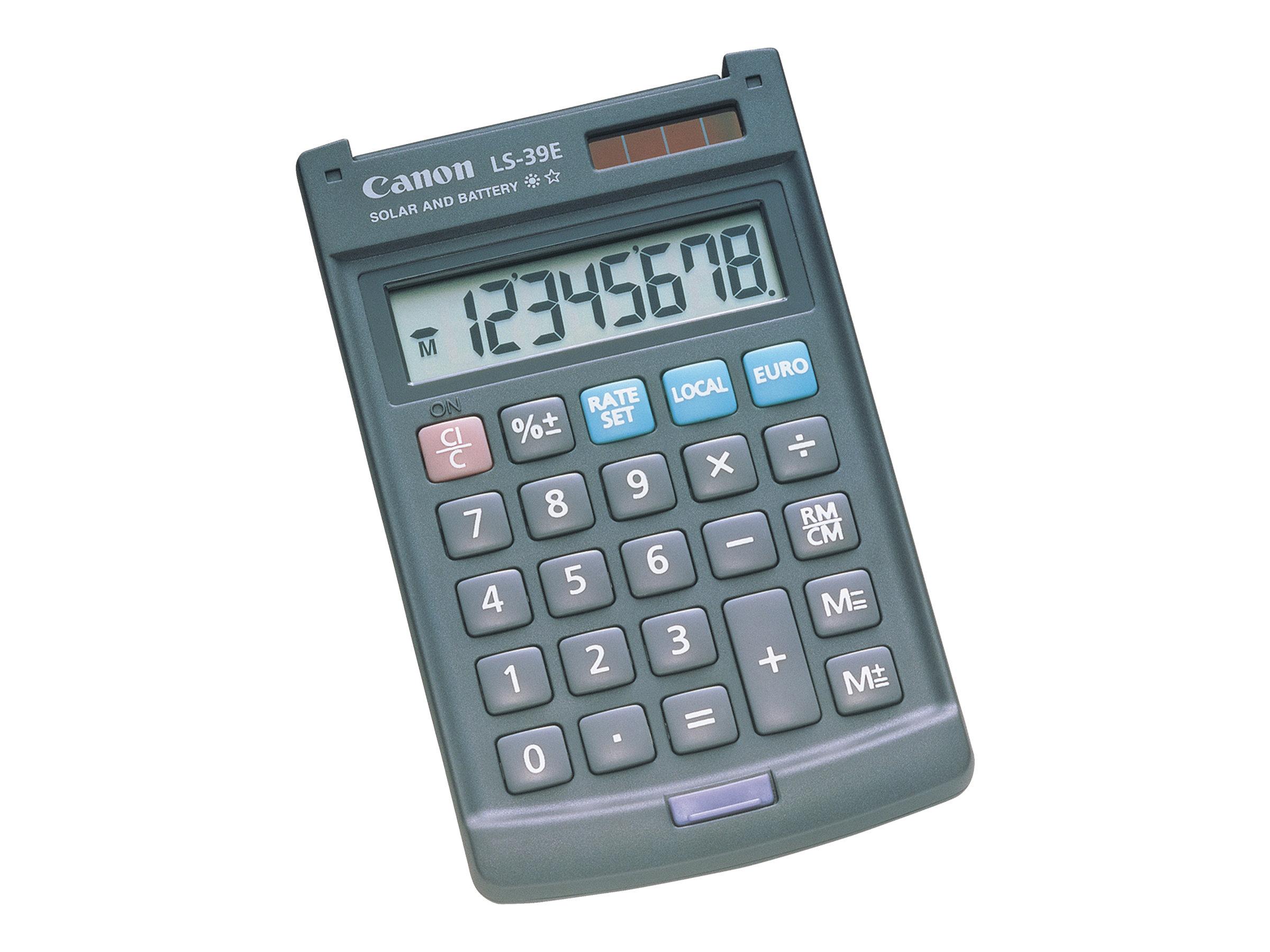 Canon LS-39E - Taschenrechner - 8 Stellen - Solarpanel, Batterie - Dunkelgrau