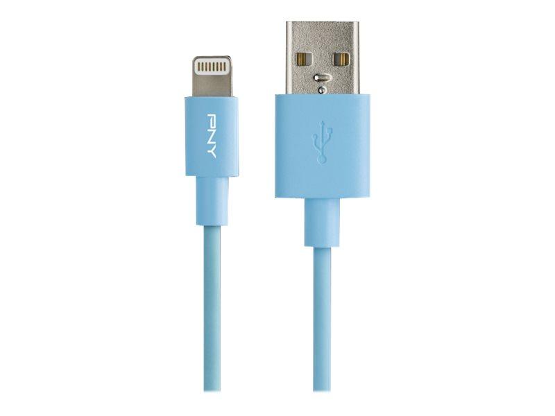 PNY Charge & Sync - Lightning-Kabel - USB (M) bis Lightning (M) - 1.2 m - Blau - für Apple iPad/iPhone/iPod (Lightning)