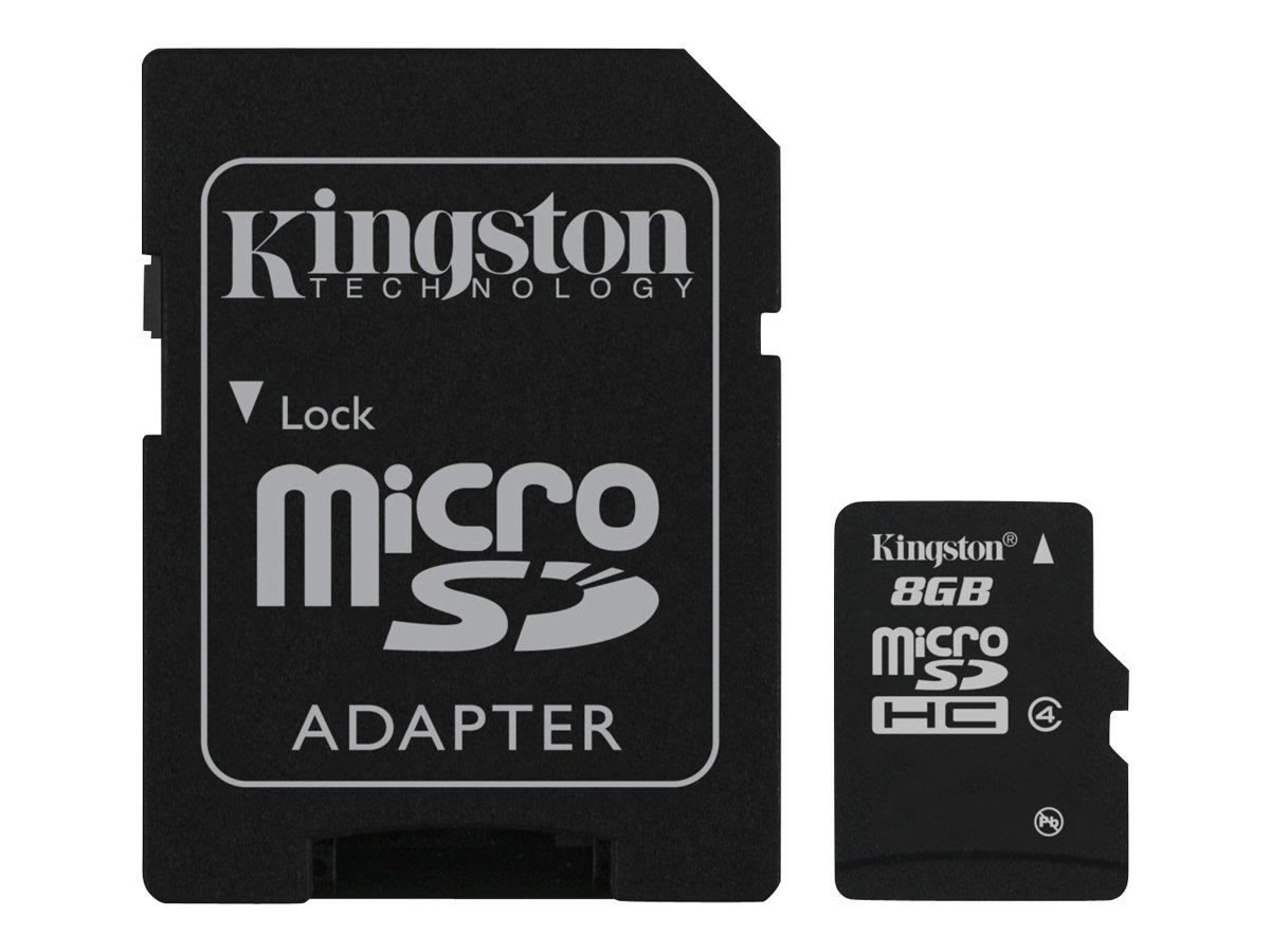 Kingston - Flash-Speicherkarte (microSDHC/SD-Adapter inbegriffen) - 8 GB - Class 4 - microSDHC