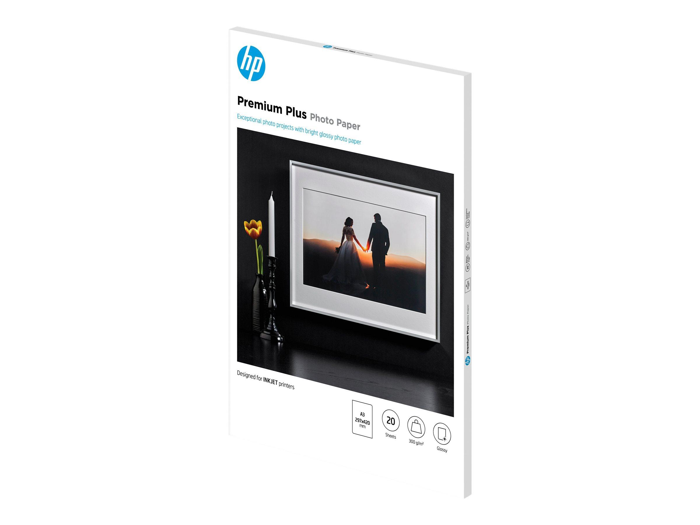 HP Premium Plus Photo Paper - Glänzend - A3 (297 x 420 mm) - 300 g/m² - 20 Blatt Fotopapier - für Officejet 7000 E809, 75XX; Off