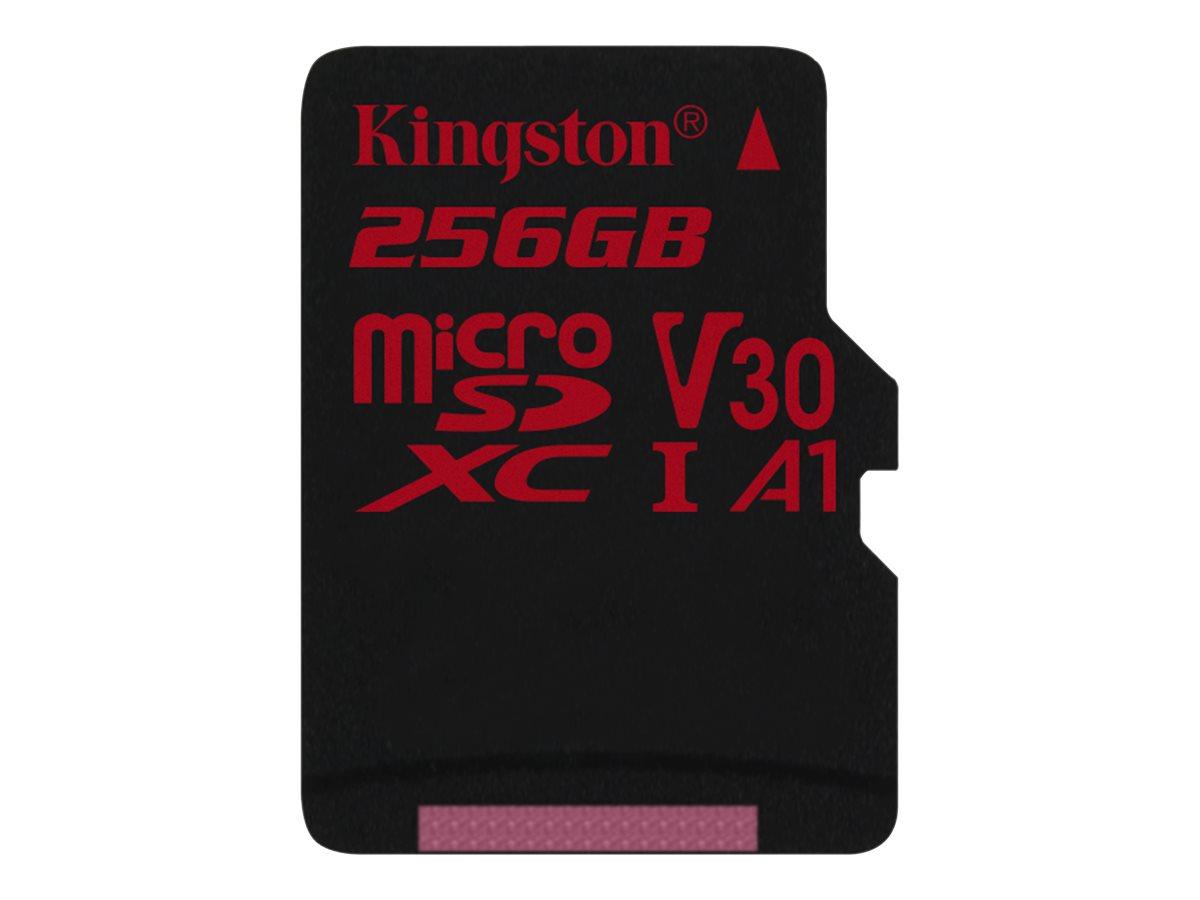 Kingston Canvas React - Flash-Speicherkarte - 256 GB - A1 / Video Class V30 / UHS-I U3 / Class10 - microSDXC UHS-I