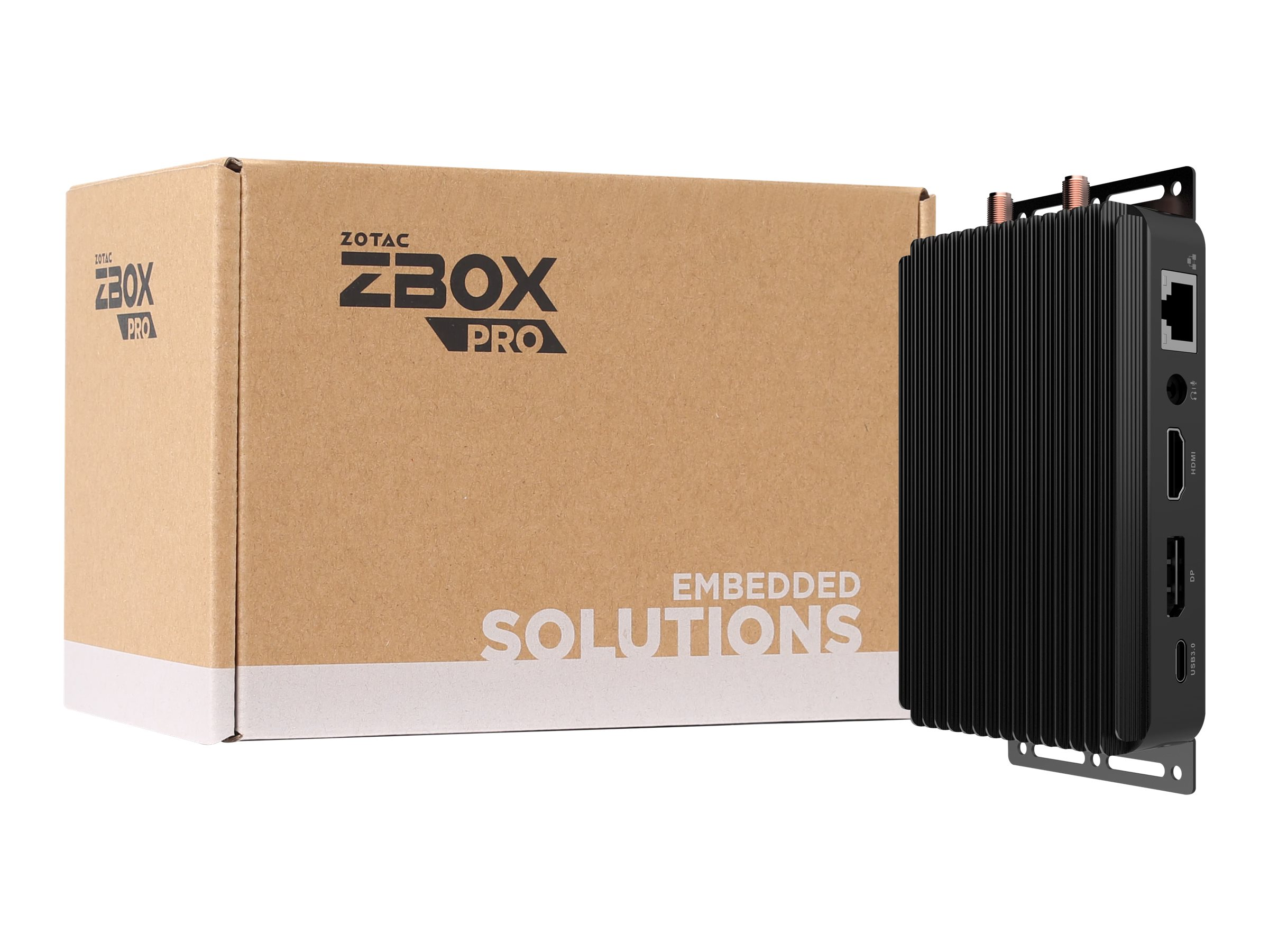 ZOTAC ZBOX PRO PI335 pico - Mini-PC - 1 x Celeron N4100 / 1.1 GHz - RAM 4 GB - SSD - eMMC 64 GB