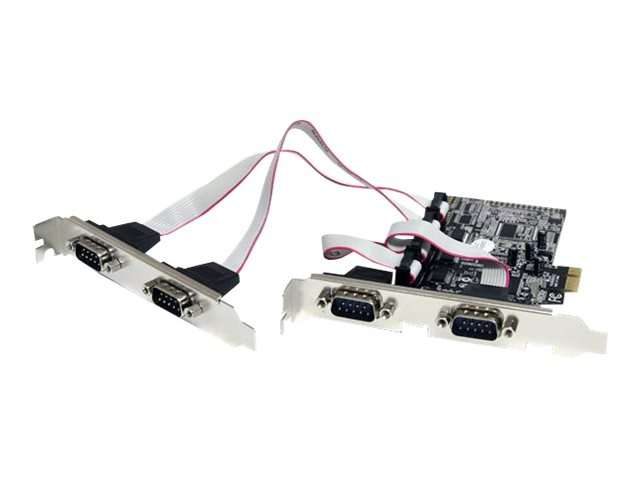 StarTech.com 4 Port Serielle RS232 PCI Express Schnittstellenkarte mit Breakout Kabel - DB9 PCIe Karte mit 16950 UART - Serielle