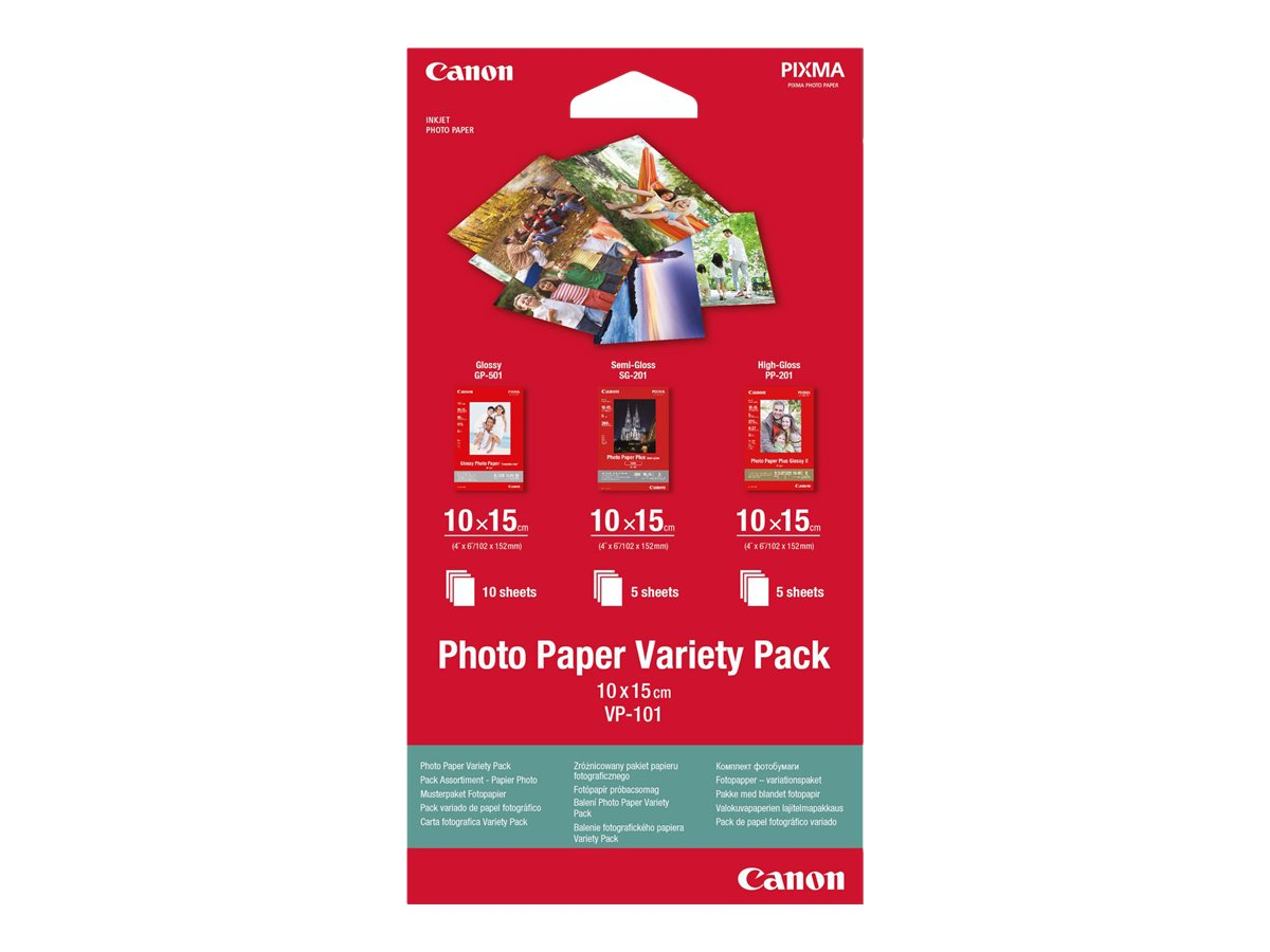 Canon Variety Pack VP-101 - 100 x 150 mm 15 Blatt Fotopapier-Kit - für PIXMA MG2550, MG3550, MG3650, MG5750, MG5751, MG6450, MG6
