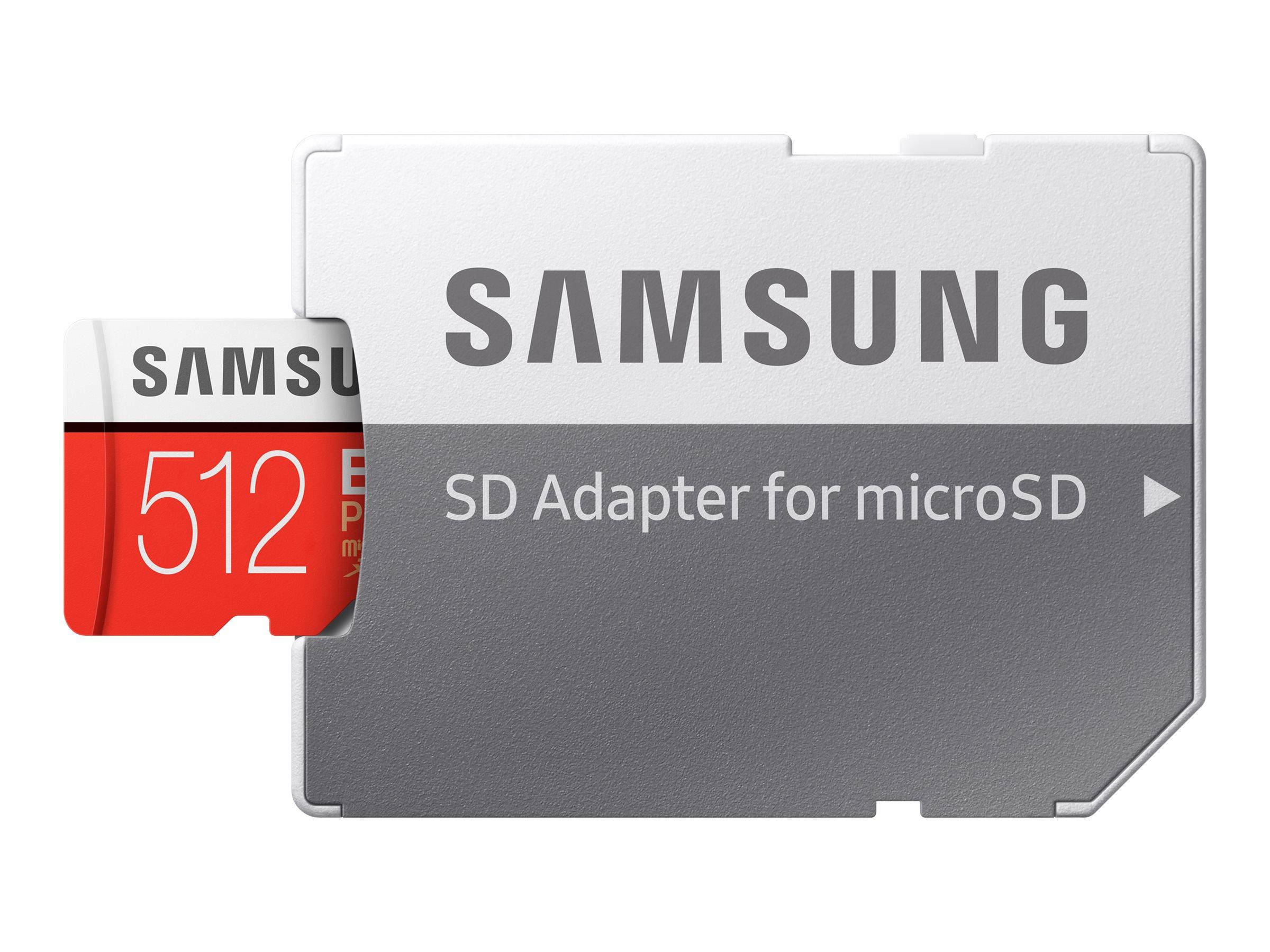 Samsung EVO Plus MB-MC512HA - Flash-Speicherkarte (microSDXC-an-SD-Adapter inbegriffen) - 512 GB - UHS-I U3 / Class10 - microSDX