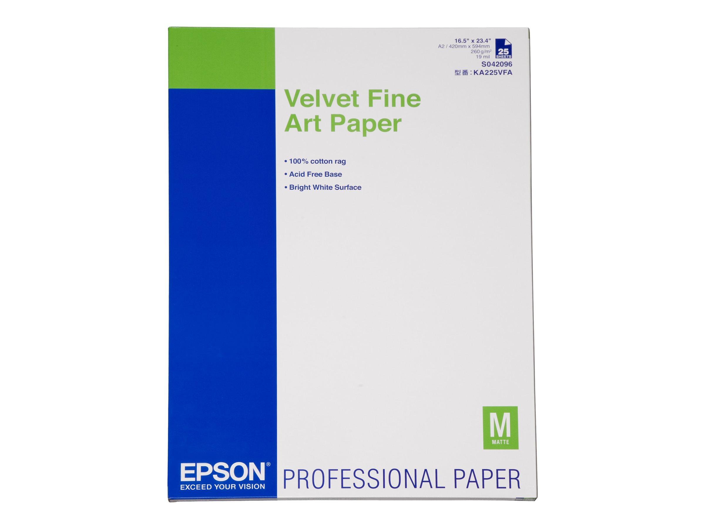 Epson Fine Art Velvet - Velvet - A2 (420 x 594 mm) 25 Blatt Kunstpapier - für SureColor P5000, P800, SC-P10000, P20000, P5000, P