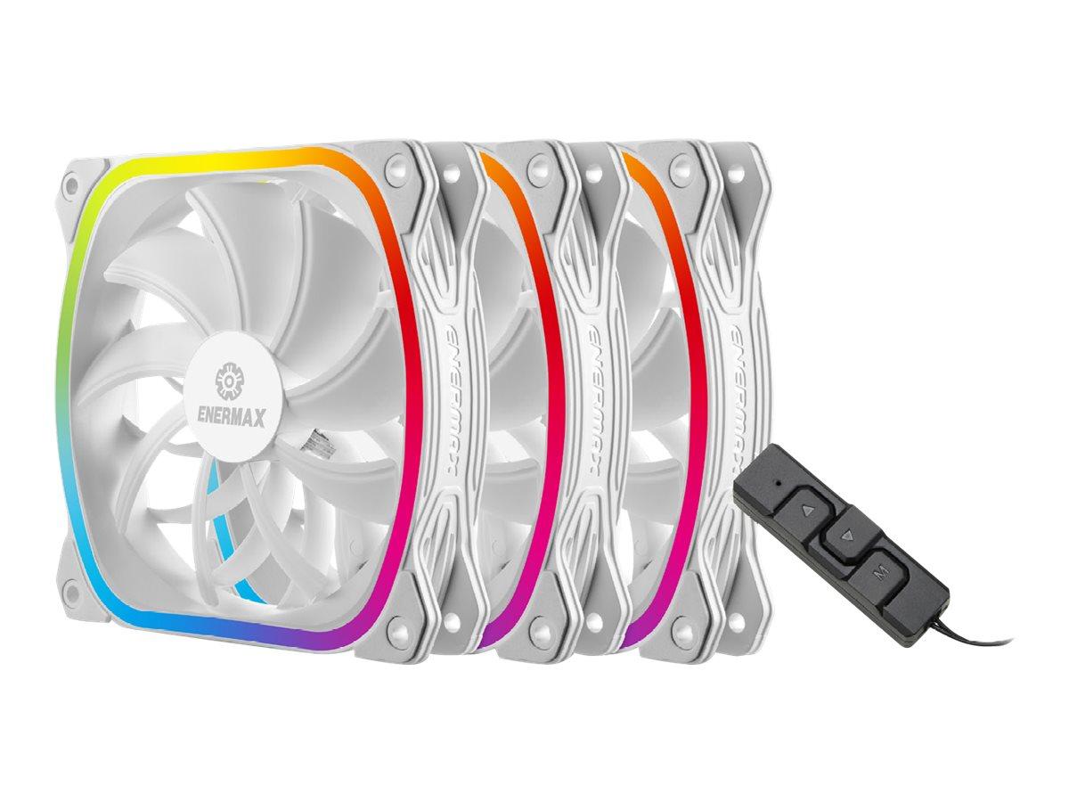 Enermax SquA RGB UCSQARGB12P-W-BP3 - Gehäuselüfter - 120 mm - weiss