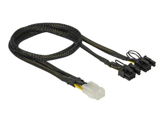 DeLOCK - Stromkabel - 6-poliges PCIe Power (W) bis 8-poliger PCIe Power (6+2) (M) - 30 cm - Schwarz