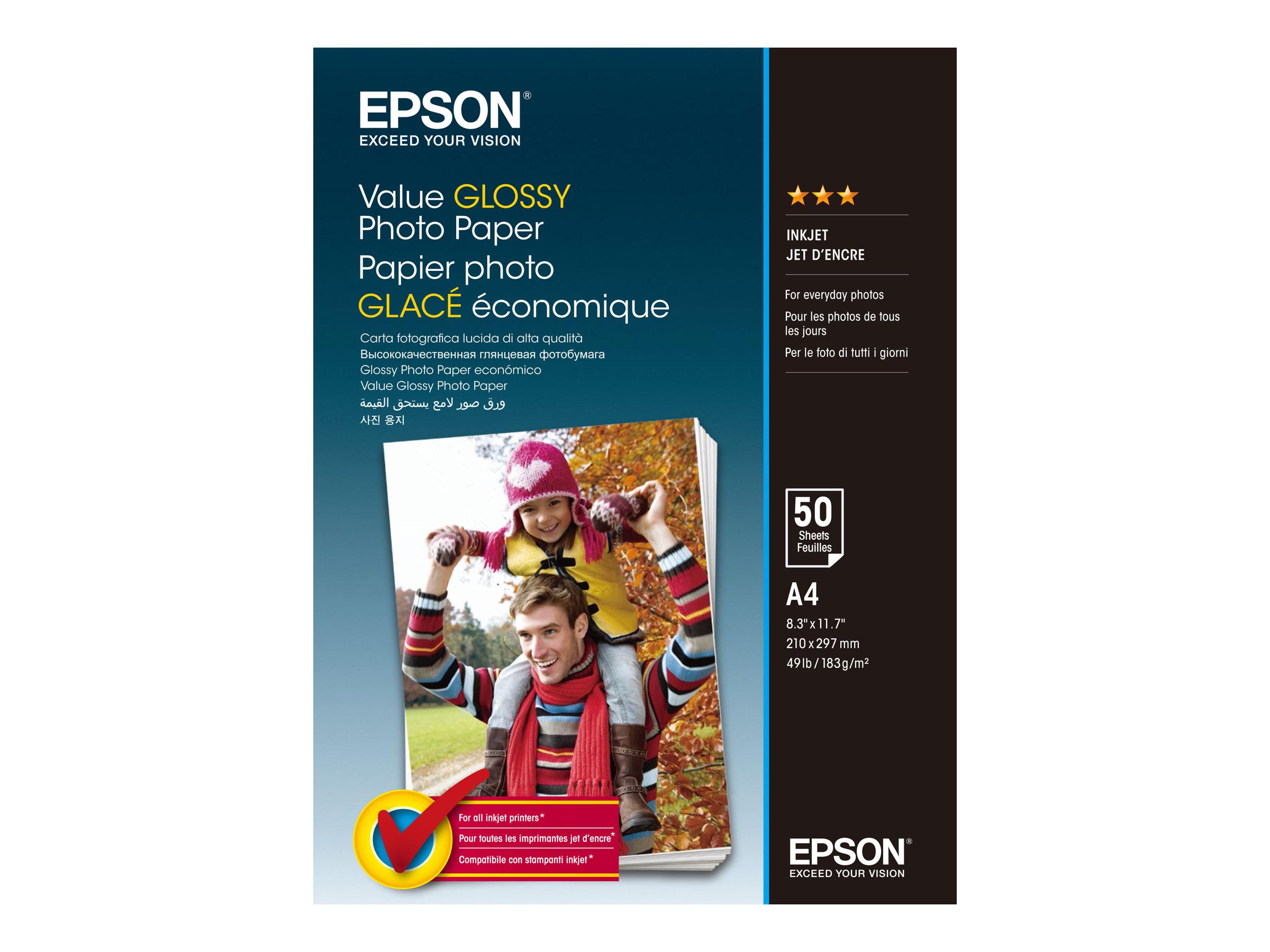 Epson Value - Glänzend - A4 (210 x 297 mm) - 183 g/m² - 50 Blatt Fotopapier - für Epson L382, L386, L486; Expression Home HD XP-