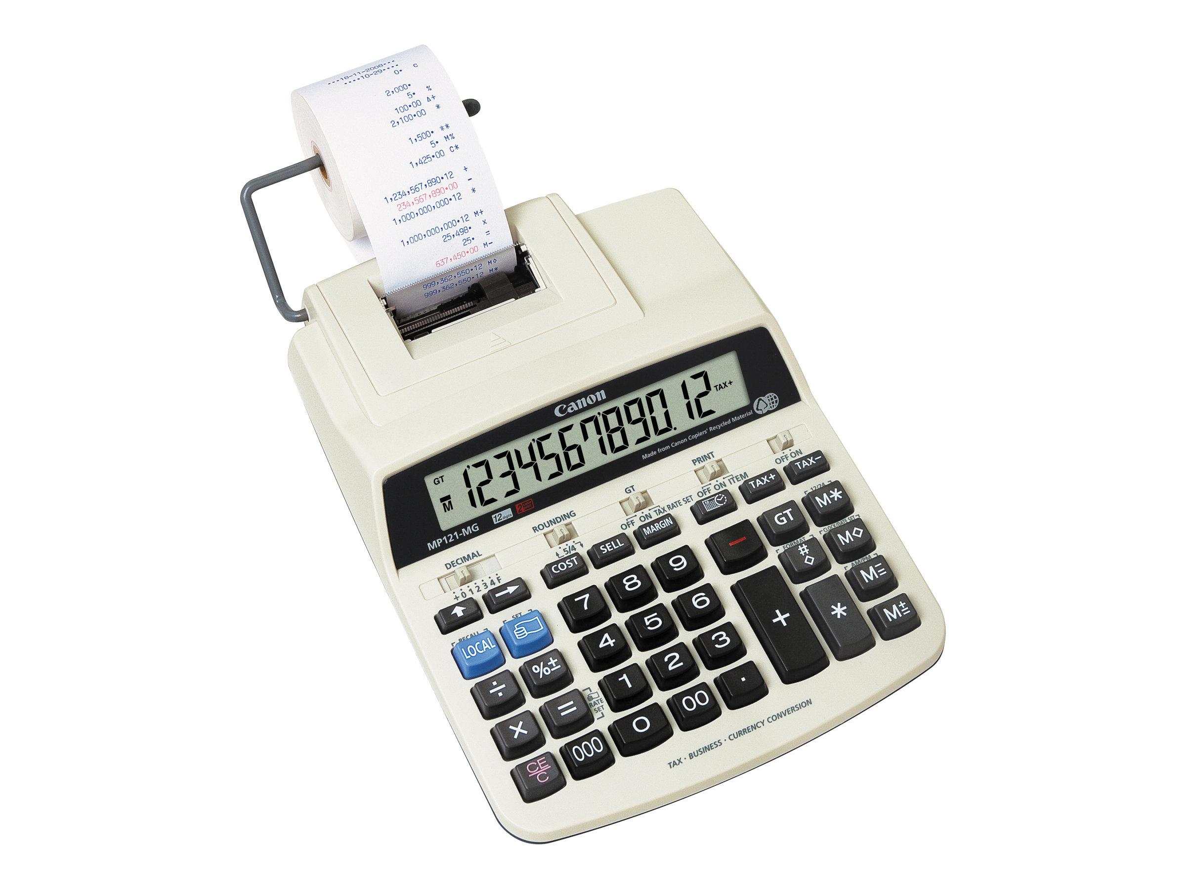 Canon MP121-MG - Druckrechner - LCD - 12 Stellen - Wechselstromadapter, Speichersicherungsbatterie - Grau, beige