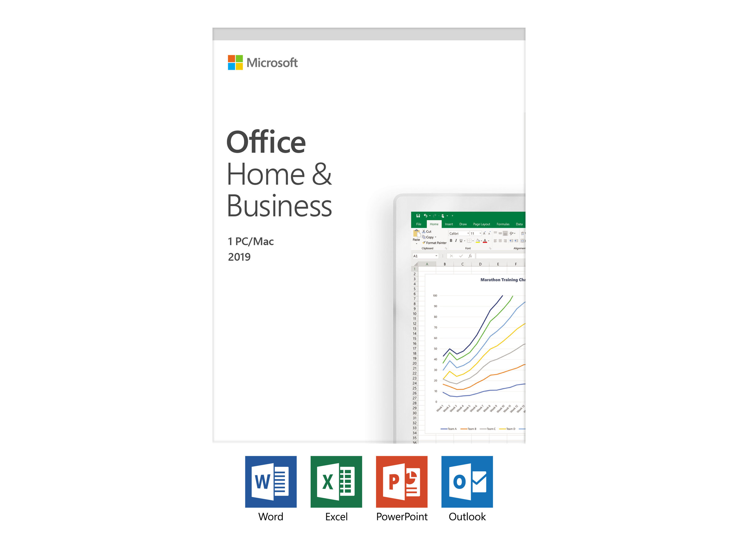 Microsoft Office Home and Business 2019 - Box-Pack - 1 PC/Mac - ohne Medien, P6 - Win, Mac - Italienisch