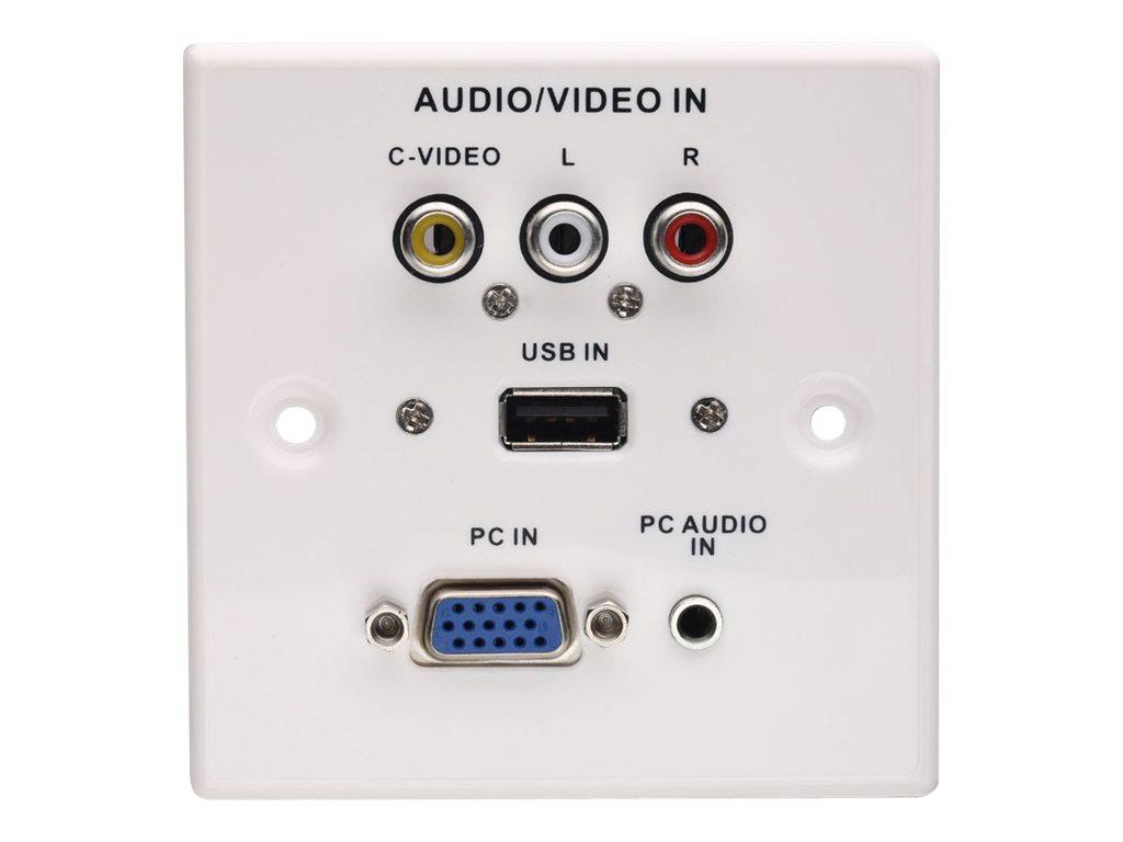 LINDY AV Multimedia Faceplate - Frontabdeckung - HD-15, RCA X 3, Mini-Phone Stereo 3,5 mm, USB - Abdeckung mit einer Aussparung