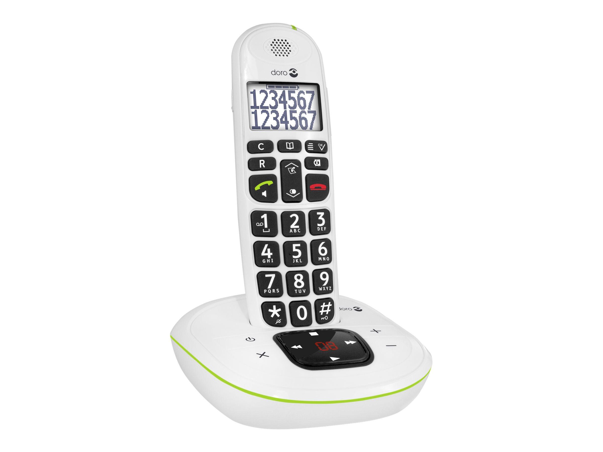 DORO PhoneEasy 115 - Schnurlostelefon - Anrufbeantworter mit Rufnummernanzeige/Anklopffunktion - DECT\GAP - weiss