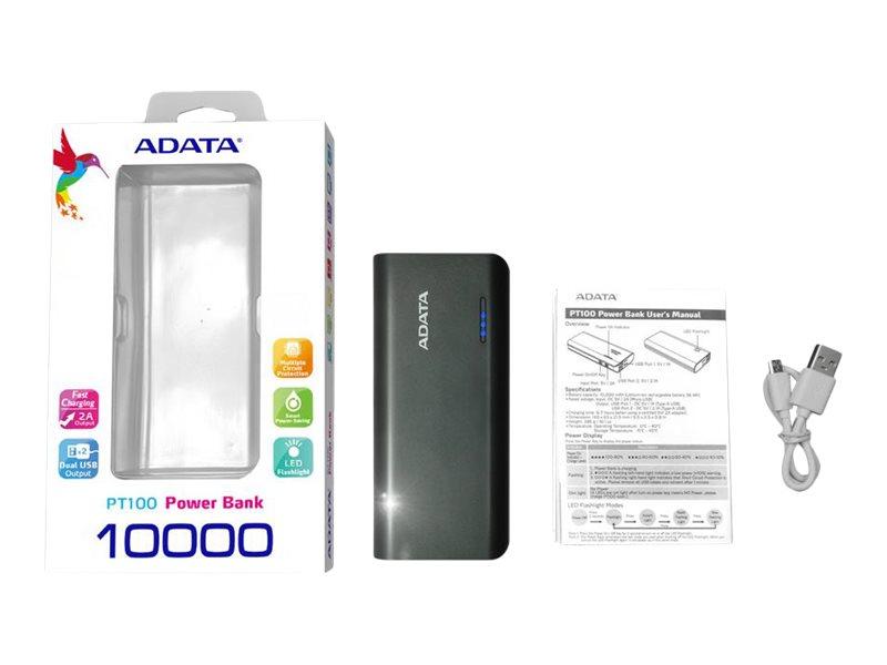 ADATA PT100 - Powerbank - 10000 mAh - 2.1 A - 2 Ausgabeanschlussstellen (USB) - Schwarz