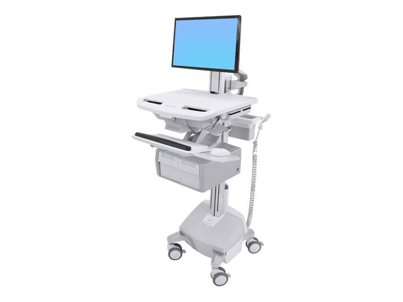 Ergotron Cart with LCD Pivot, LiFe Powered, 2 Tall Drawers - Wagen für LCD-Display/Tastatur/Maus/CPU/Notebook/Barcodescanner (of