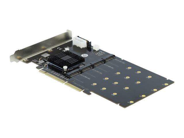 DeLOCK PCI Express x8/x16 Card > 4 x internal NVMe M.2 Key M - Speicher-Controller - M.2 - M.2 Card - PCIe 3.0 x16