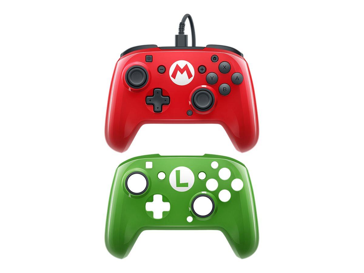 PDP Faceoff Deluxe Wired Pro - Super Mario Bros. - Game Pad - kabelgebunden - Rot, grün - für Nintendo Switch