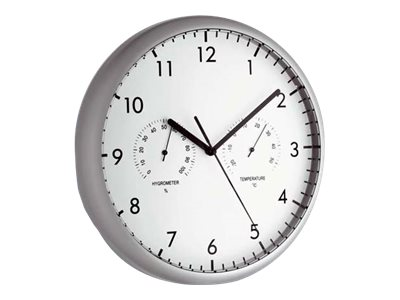 TFA - Uhr - Quarz - geeignet für Wandmontage - 26.5 cm - Silber