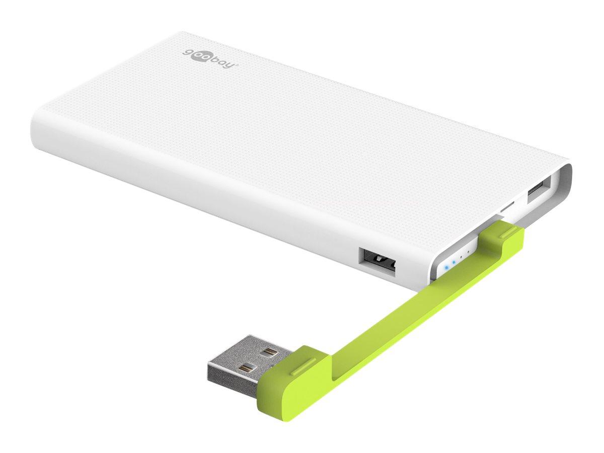 goobay PowerBank 10.0 - Powerbank - 10000 mAh - 2.4 A - 2 Ausgabeanschlussstellen (USB) - auf Kabel: Micro-USB