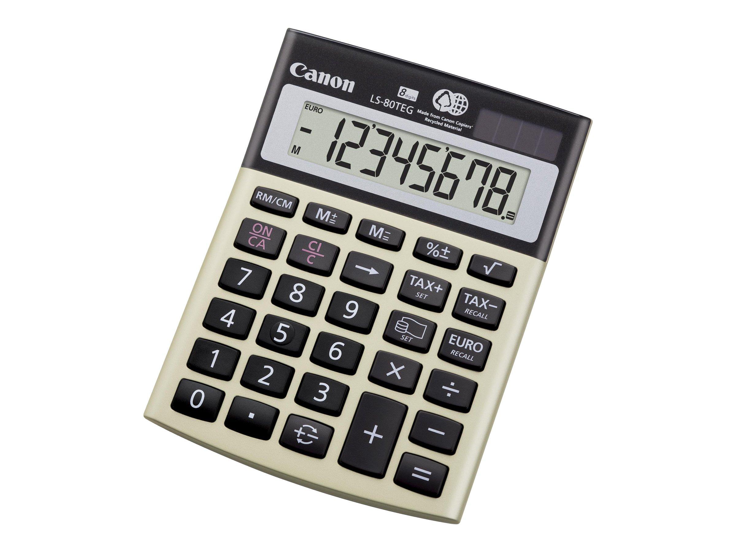 Canon LS-80TEG - Desktop-Taschenrechner - 8 Stellen - Solarpanel, Batterie - Silver Metallic