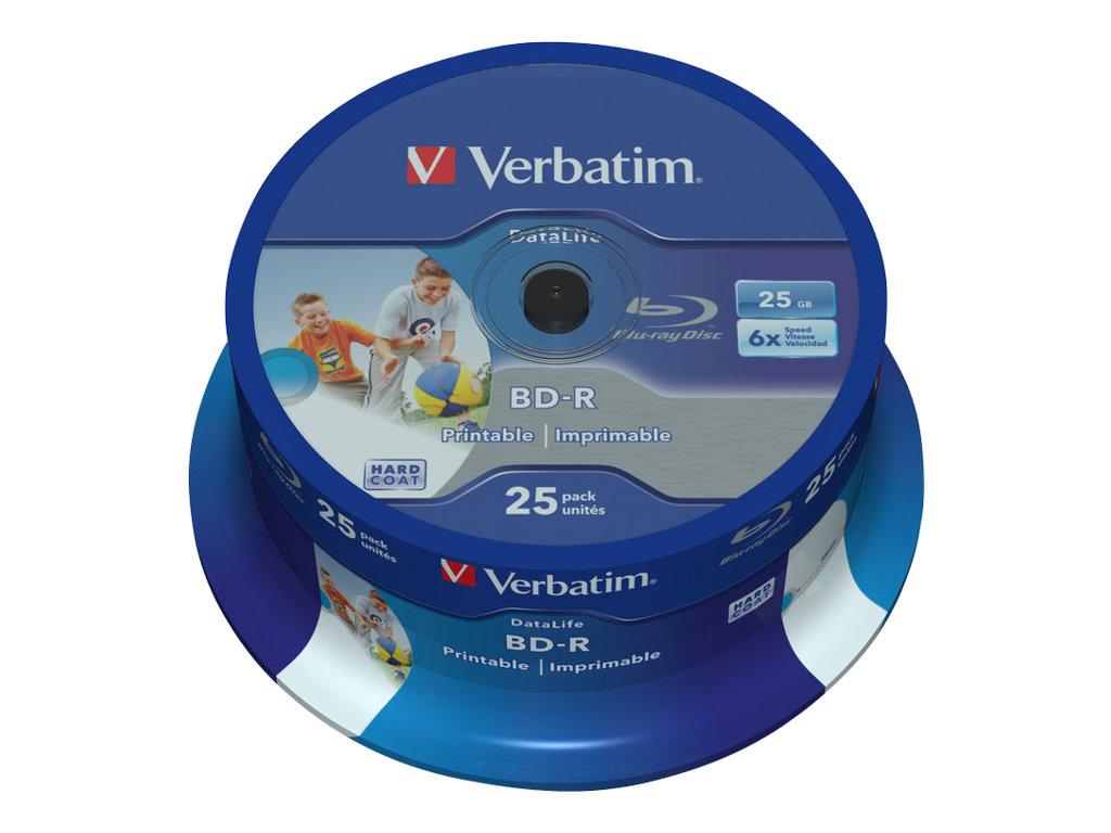 Verbatim DataLife - 25 x BD-R - 25 GB 6x - mit Tintenstrahldrucker bedruckbare Oberfläche - Spindel