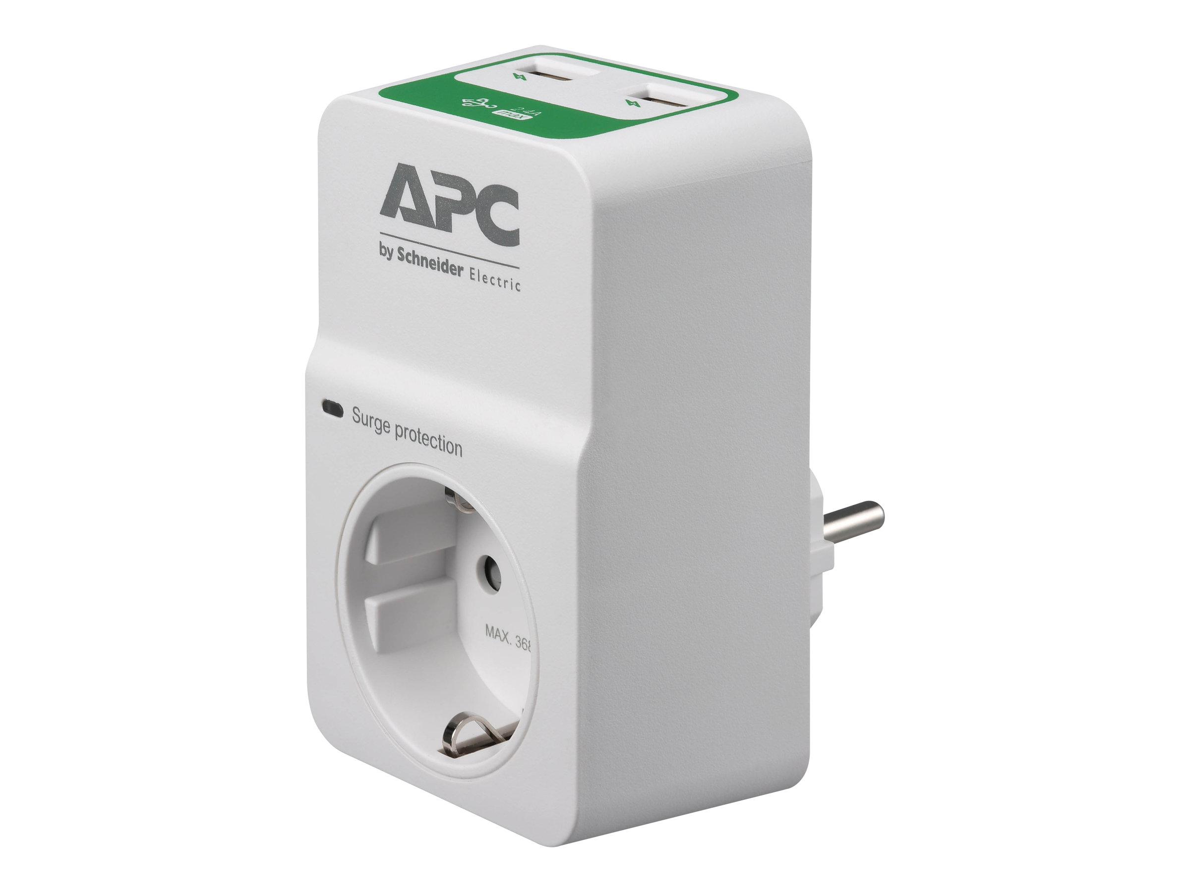 APC Essential Surgearrest PM1WU2 - Überspannungsschutz - Wechselstrom 230 V - Ausgangsanschlüsse: 1 - Deutschland - weiss