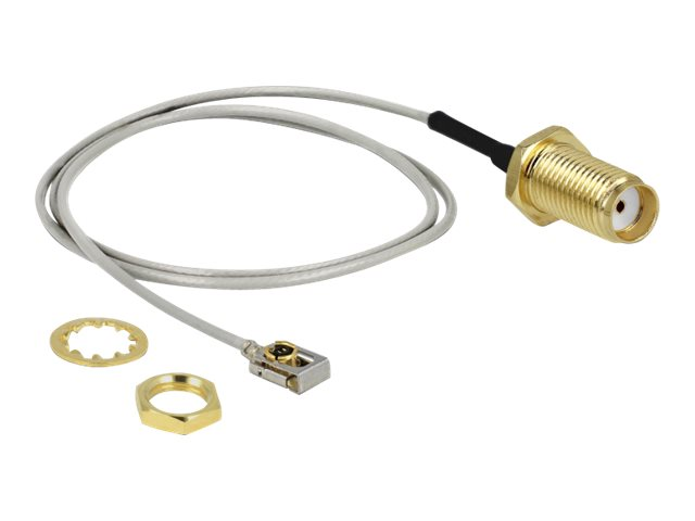 DeLOCK - Antennenkabel - SMA (W) Bulkhead bis MHF I LK (M) - 35 cm - Koax - Grau, Schwarz