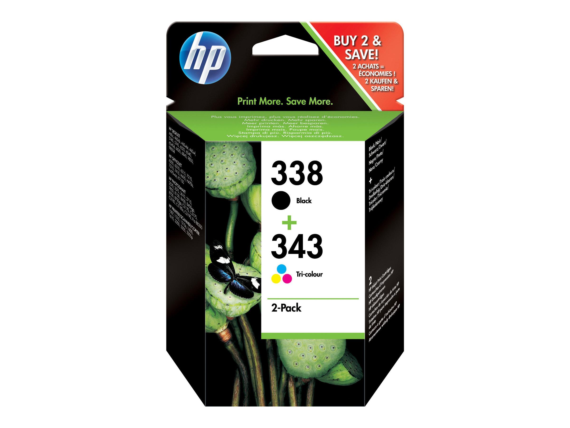 HP 338/343 - 2er-Pack - Schwarz, Farbe (Cyan, Magenta, Gelb) - Original - Blisterverpackung - Tintenpatrone