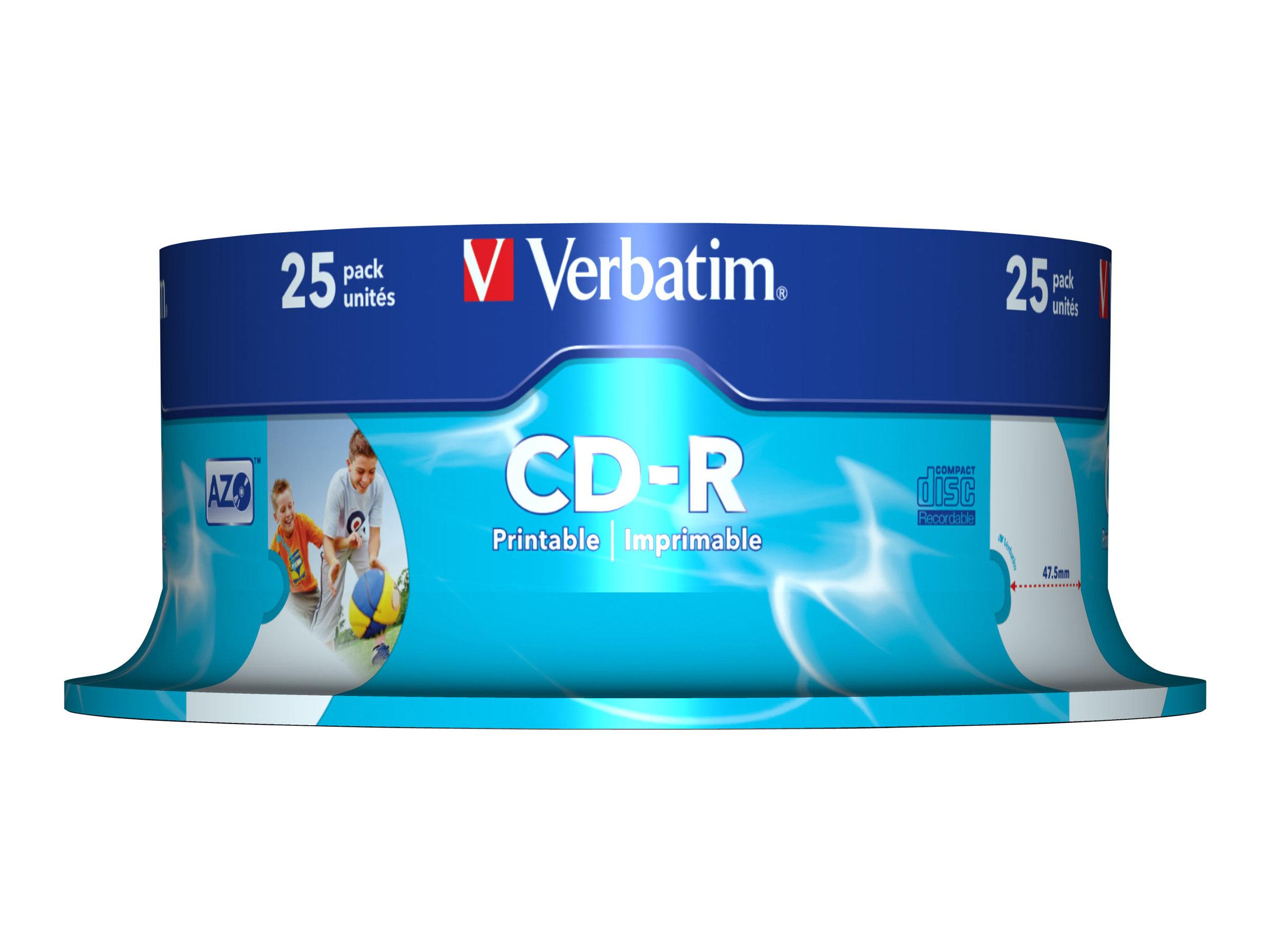 Verbatim DataLifePlus - 25 x CD-R - 700 MB 52x - bedruckbare Oberfläche - Spindel